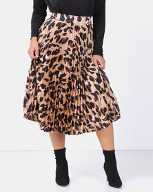 New Look Curves Brown Leopard Print Pleated Satin Midi Skirt
