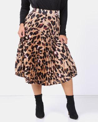 New Look Curves Brown Leopard Print Pleated Satin Midi Skirt