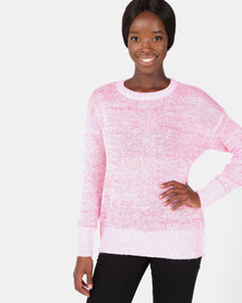 New Look Marl Longline Jumper Pink
