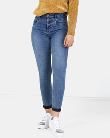 New Look High Waist 3 Button Yazmin Jeans Blue