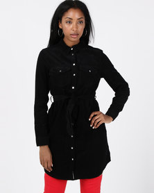 New Look Black Corduroy Shirt Dress