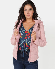 New Look Hooded Lightweight Puffer Jacket Pink