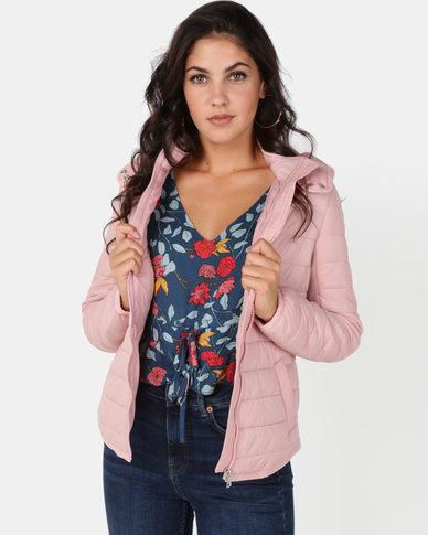 New Look Hooded Lightweight Puffer Jacket Pink