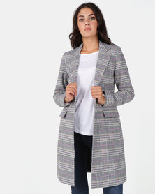 New Look Black Multi Check Longline Coat