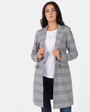 New Look Black Multi Check Longline Coat