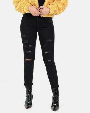 New Look Raw Hem Ripped Skinny Jenna Jeans Black