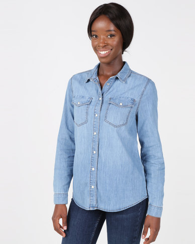 New Look Denim Utility Pocket Shirt Blue