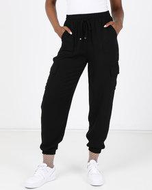 New Look Cuffed Utility Joggers Black