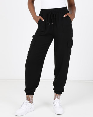 New Look Cuffed Utility Joggers Black