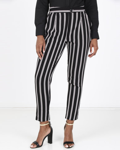 New Look Pull-On Tapered Trousers Black Stripe
