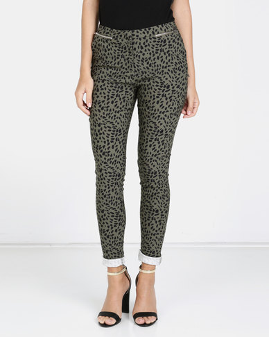 New Look Animal Print Zip Trim Slim Leg Trousers Khaki