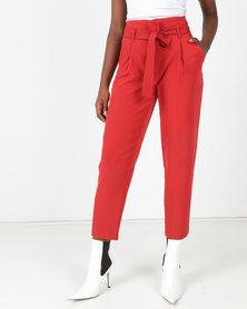 New Look Tie Paperbag Waist Trousers Dark Red