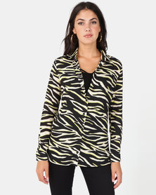 New Look Black Neon Zebra Print Longline Shirt