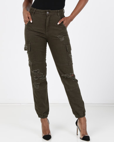 New Look Khaki Ripped Utility Cargo Jeans