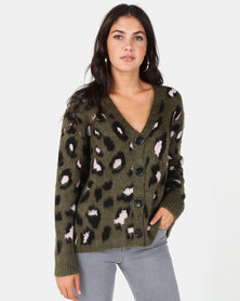 New Look Khaki Leopard Print Brushed Cardigan
