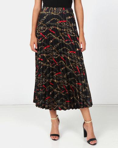 76e4f1cbf3 New Look Chain Print Pleated Midi Skirt Black | Zando