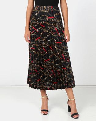 New Look Chain Print Pleated Midi Skirt Black