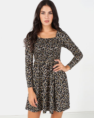 New Look Shirred Soft Touch Mini Dress Black Floral
