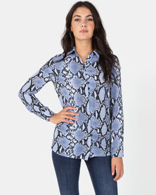 New Look Candice Shirt Blue Snake Print