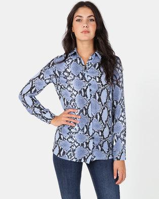 New Look Candice Shirt Blue Snake Print