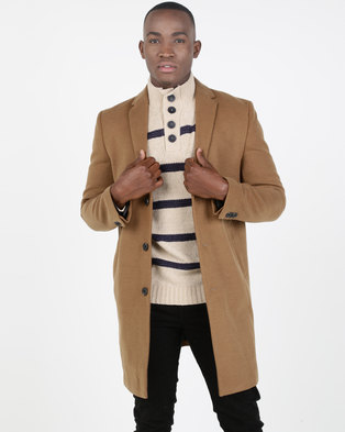 New Look Camel Overcoat Brown