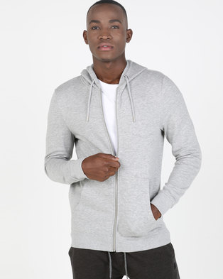 New Look Marl Zip Through Hoodie Grey