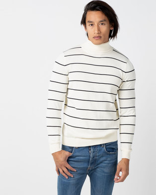 New Look Stripe Roll Neck Jumper Off White