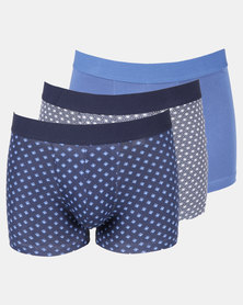 New Look 3 Pack Blue Star and Geometric Trunks Multi