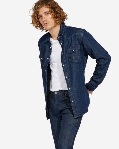 49f744c029 Wrangler Icon Denim Regular Fit Shirt Dark Indigo