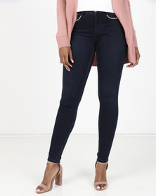 Sissy Boy Axel Mid-Rise Pocket Detail Skinny Jeans Blue Black