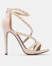 MHNY by Madison Pearl Trim Stiletto Sandals Nude