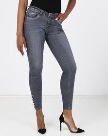 Sissy Boy Jon Jon Low-rise With Pearl Detail Skinny Jeans Grey