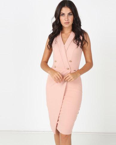 Sissy Boy Girl Boss Collard Wrap Dress Rose Quartz