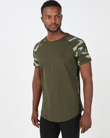 Crosshatch Alamein Camo Raglan T-Shirt Green