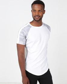 Crosshatch Alamein Camo Raglan T-Shirt White