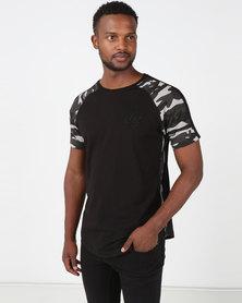 Crosshatch Alamein Camo Raglan T-Shirt Black