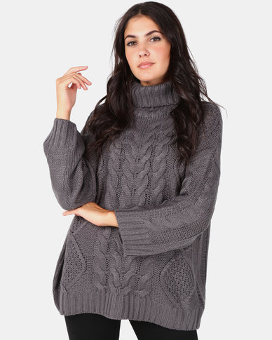 Brave Soul Oversized Roll Neck Cable Jumper Mid Grey