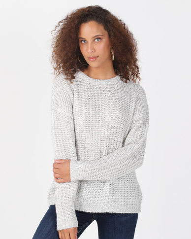 Brave Soul Fisherman Knit Crew Neck Jumper White/Silver
