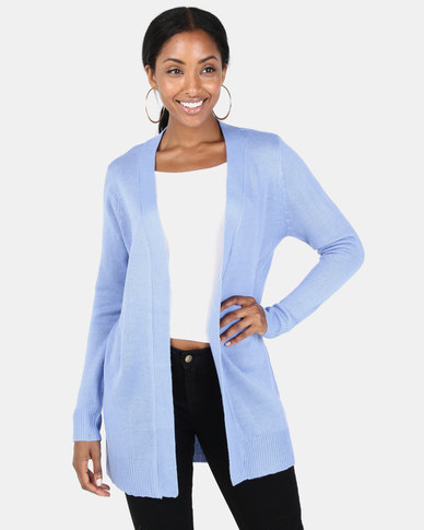 Brave Soul Mid Length Open Front Cardigan Provence Blue