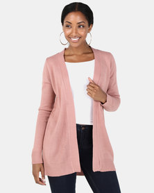 Brave Soul Mid Length Open Front Cardigan Old Rose