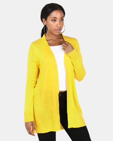 Brave Soul Mid Length Open Front Cardigan Golden Yellow