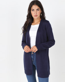 Brave Soul Mid Length Open Front Cardigan Navy