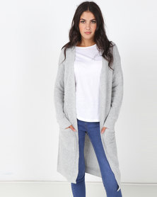 Brave Soul Long Line Soft Cardi With Pockets Dove Grey