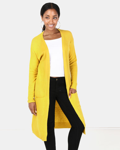 Brave Soul Long Line Soft Cardi With Pockets Mustard