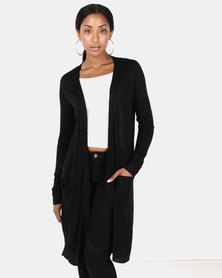 Brave Soul Long Line Cardi With Pockets Black