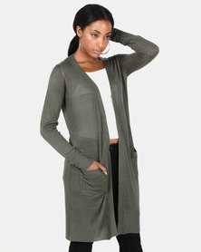 Brave Soul Long Line Cardi With Pockets Khaki