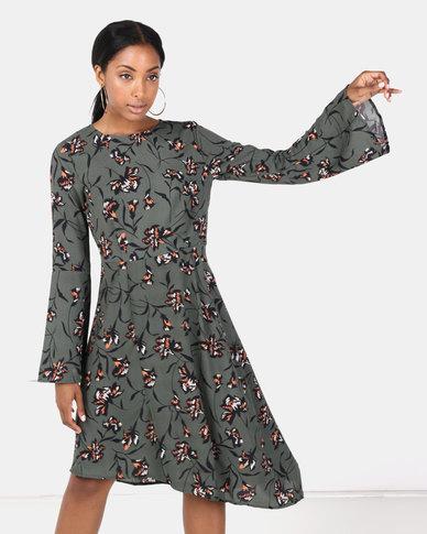 Brave Soul Long Sleeve Asymmetric Dress Forest Green