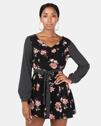 Brave Soul Long Sleeve V Neck Dress Black Multi