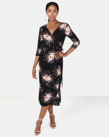 Brave Soul Mid Sleeve Tie Side Maxi Dress Black Floral Print