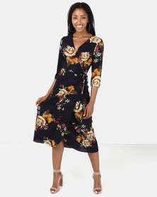 Brave Soul Mid Sleeve Tie Side Maxi Dress Navy Floral Print